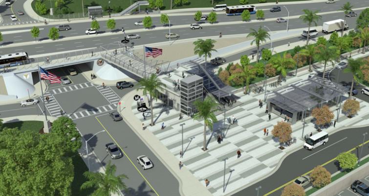 Rendering of Westwood/VA Hospital station